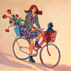 Special Delivery, contemporary painting of a woman on a bicycle, painting by artist Carolee Clark