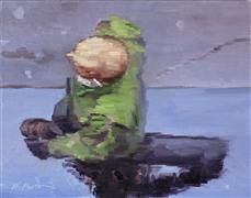 Original art for sale at UGallery.com | Bald Man in Green Jacket Walking in Paris by Warren Keating | $600 | oil painting | http://www.ugall...