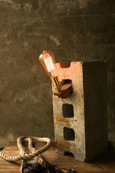 Cinderblock Lamp Industrial Light