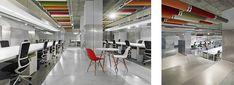 Díaz y Díaz Arquitectos. Interiorismo Oficinas Coworking - Hormigón - Estudio Coruña / Open workspace Interior design. Office. Concrete floor. Color ceiling. Architecture