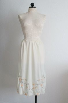 Cream w/ Peach and Mint Green Cherry Blossoms Embroidered Applique Vintage Half Slip by VintageHagClothing on Etsy, $15.00