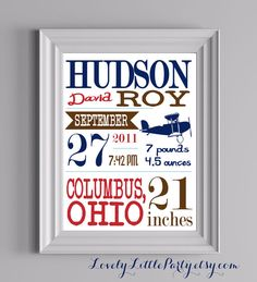 Customized Airplane Theme Nursery Print  8x10 by lovelylittleparty, $18.00