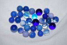 Old Vintage GLASS MARBLES Lot blue by NostalgicSalvage on Etsy, $12.00