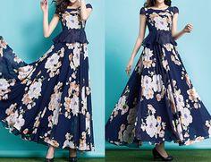 Summer Dress Dark Blue Chiffon White Patin Maxi Dress by MatchLife, $125.00