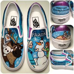 Vans Frozen shoes on etsy Painted Canvas Shoes, Painted Sneakers, Hand Painted Shoes, Disney Shoes, Disney Outfits, Frozen Shoes, Sharpie Shoes, Cute Vans, Vanz