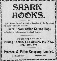https://flic.kr/p/GbjxQo | Shark Hooks | Pacific commercial advertiser, October 4, 1900, Page 11 chroniclingamerica.loc.gov/lccn/sn85047084/1900-10-04/ed-... Hawaii Digital Newspaper Project hdnpblog.wordpress.com/