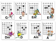 """The Best Eight Guitar Chords for A kid To Learn. Eight letter sized """"mini-posters"""" from my Guitar Teacher's downloadable resources website"""