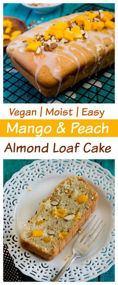 Vegan Mango peach almond loaf cake made with dairy - free yogurt alternative. SO moist , no one will believe it's #eggless & #dairy-free .
