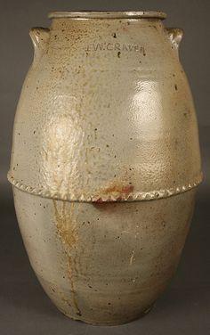 "Tinsley Washington Craven (1804-1860) - Two Handled Storage Jar. Salt Glazed Stoneware. Signed ""T.W. CRAVEN"". Henderson County, Tennessee. Circa 1830-1860. 22""."