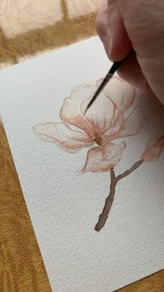 Flower Drawing Discover Magnolia Watercolor Painting Time lapse of a magnolia flower by Brianna Johnson Art Watercolor Paintings For Beginners, Watercolor Video, Watercolor Drawing, Watercolor Illustration, Floral Watercolor, Painting & Drawing, Watercolor Flowers Tutorial, Watercolour Tutorials, Art Pastel