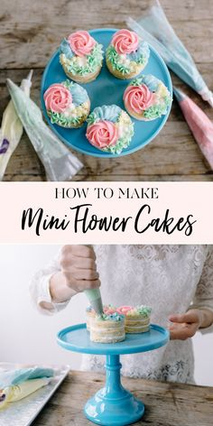 How to Make Mini Flower Cakes Happy May! Mother's Day is just around the corner and I've got the perfect recipe to whip up for the special Mom in your life: Mini Flower Cakes! They're pretty simple to put together and French Vanilla Cake, Vanilla Cake Mixes, Individual Desserts, Mini Desserts, Best Cake Recipes, Dessert Recipes, Mini Cakes Tutorial, Cupcakes Flores, Jenny Cookies