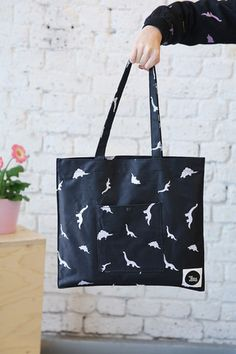 Canvas Shoulder Bag Dinosaur Embroidery - THE WHITEPEPPER