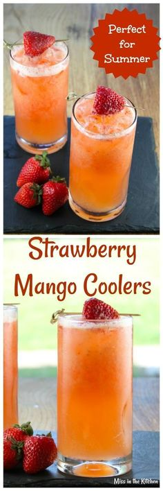 Strawberry Mango Coolers are a refreshing drink that both kids and adults will love. Great recipe for summer get togethers! From MissintheKitchen.com