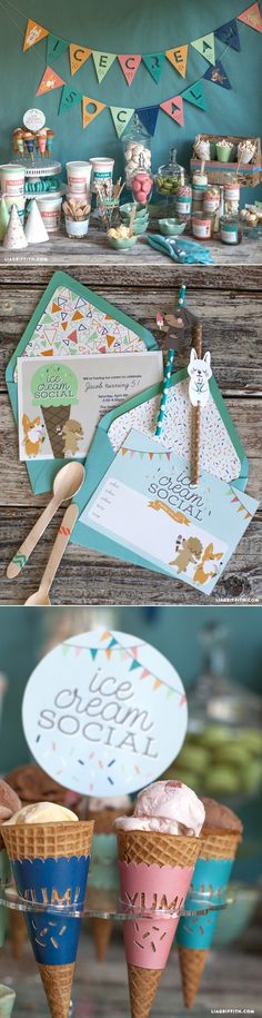 #Icecreamsocial #partyprintable at www.LiaGriffith.com