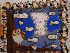 The owl who was afraid of the dark school display School Displays, Classroom Displays, Ks2 Classroom, Owl Babies, Baby Owls, Nocturnal Animals, Woodland Animals, Afraid Of The Dark, Light In The Dark