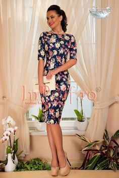 Rochii midi office cu imprimeu floral Shoulder Dress, Dresses With Sleeves, Floral, Long Sleeve, Shopping, Fashion, Moda, Sleeve Dresses, La Mode