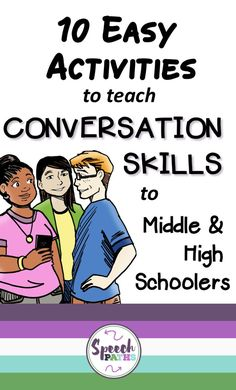 Do you target conversation goals in Speech Therapy?  Here are 10 fun activities to help older students improve conversation skills with free worksheet downloads! #socialskills #communication<br>