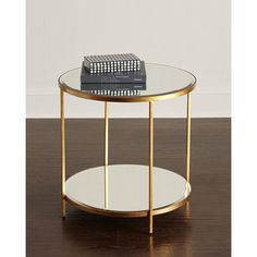 INTERLUDE Nolan Two-Tiered Side Table featuring polyvore, home, furniture, tables, accent tables, gold, two tier side table, handmade tables, 2 tier end table, two tier table and handmade furniture
