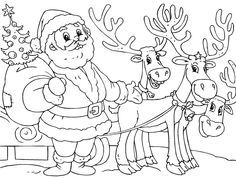 Printable Santa And Reindeer Coloring Page - Christmas Coloring ...