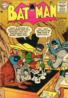 Batman 97  1. Why is the dog wearing a mask?  2. Why the hell is the bat-symbol PINK?