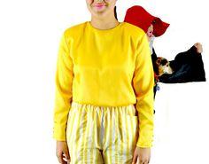 Yellow Shirt Satin Shell Vintage 1980s Size by BlackRockVintage