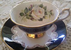 White Rose and Black & Gold Details fine bone china cup & saucer