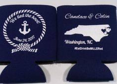 Nautical North Carolina State Wedding Koozie we tied the knot SP2236