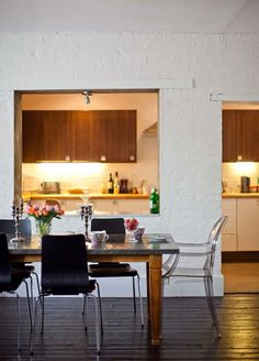 Big open kitchen/living space, like ours. Love the zinc-topped table. Emma Jane, Open Plan Kitchen, Kitchen Pass, Kitchen Cupboards, Kitchen Living, Kitchen Furniture, Home Renovation, Dining Area, Dining Room