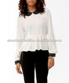 polka dot recortado peplum cb0237 superior-Mujer Blusas y Tops-Identificación del producto:676904703-spanish.alibaba.com