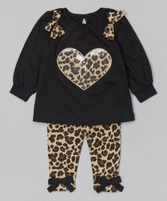 Look what I found on #zulily! Black Leopard Heart Tunic & Leggings - Infant, Toddler & Girls by Buster Brown #zulilyfinds