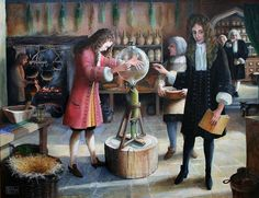 After Robert Hooke had finished his education and secured his doctorate at Christ Church, Oxford, he assisted Robert Boyle in his work. Robert Hooke is setting up an experiment using the air pump he designed and made. It is taking place at the rear of an apothecary's shop in Oxford owned by Dr. Cross. Hooke is fitting on the glass globe while Boyle supervises. The artist has used Hooke's own working drawing of the air pump for accuracy.
