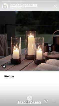 These candlesticks are from Stelton and are perfect for your terrace or balcony on a summer evning! Hurricane Lanterns, Hurricane Candle Holders, Candle Stand, Minimalist Candle Holders, Minimalist Candles, Small Candles, White Candles, Small Balcony Design, Design Bestseller
