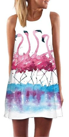 Women's Flamingo Design Casual Summer Dress #fashion #womensfashion #flamingos #pinkflamingos #flamingofashion #flamingodress #summerfashion #summerdress
