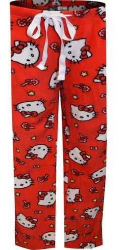 WebUndies.com Hello Kitty Christmas Kitty Red Plush Lounge Pants Hello Kitty Christmas, Christmas Cats, Christmas Themes, Lounge Pants, Lounge Wear, Best Pajamas, S Star, Fleece Fabric, Pants For Women