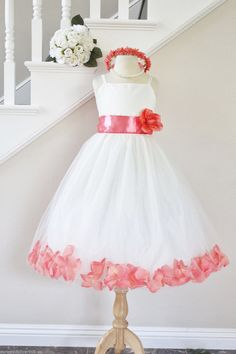 CORAL GUAVA Flower Girl Dresses Petal. WHITE by NollaCollection