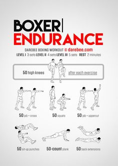 Boxer Endurance workout part of Darebee themed boxing training week. Boxing Training Workout, Boxer Workout, Speed Workout, Mma Workout, Endurance Workout, Kickboxing Workout, Weight Training, Boxing Workout With Bag, Endurance Training