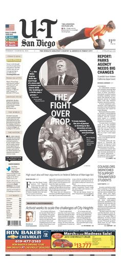 The in California is Proposition defining what marriage is in the state. Two pointy-heads make a point and counterpoint on a front page. Ad Design, Layout Design, News Design, Newspaper Design Layout, Newspaper Front Pages, Publication Design, Magazine Design, Magazine Layouts, Visual Communication