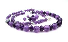 Faceted amethyst necklace set  sparkling by sparklecityjewelry, $65.00