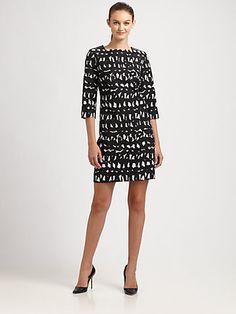 Milly - Julia Leather-Trim Dress - Saks.com
