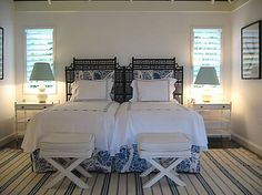 Blue and white bedroom in Jamaica  - Meg Braff Interiors