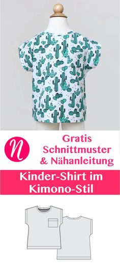 Freebook für ein Kinder-T-Shirt Jersey. PDF-Schnittmuster Größe 62 - 116 im Kimono-Stil. Nähtalente.de - Magazin für kostenlose Schnittmuster - Free sewing pattern for a nice children shirt. Size 62 - 116. 0 Month - 6 years.