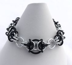 Black and Silver Anodised Aluminium Chainmaille Bracelet