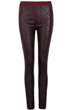 Red Skinny Geometric Print Leggings pictures