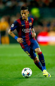Neymar of Barcelona tin action during the UEFA Champions League Quarter Final second leg match between FC Barcelona and Paris Saint-Germain at Camp Nou on April 2015 in Barcelona, Catalonia.