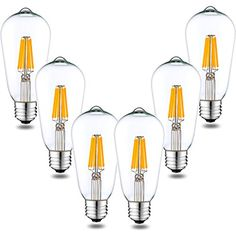 Dimmable Vintage Edison LED Filament Bulb, 6W 600LM, 60W Equivalent ST64 Edison LED Bulbs Squirrel Cage, Medium E26 Base 2700K Warm White, Energy Star UL Approved (6 Pack) - Dimmable Vintage Edison LED Filament Bulb, 6W 600LM, 60W Equivalent ST64 Edison LED Bulbs Squirrel Cage, Medium E26 Base 2700K Warm White, Energy Star UL Approved We've been using the same Lighting Products for years without many changes...And now LED Filament technology coming. The Led Filament ...