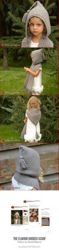 Baby Knitting Patterns Scarves The Elwood Hooded Scarf crochet pattern Crochet For Kids, Diy Crochet, Crochet Crafts, Crochet Projects, Crochet Hooded Scarf, Crochet Scarves, Crochet Clothes, Hooded Cowl, Knitting Patterns