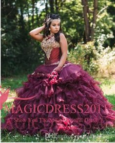 2016 Rhinestone Crystals Burgundy Quinceanera Dresses Halter Lace-up Gold Lace Sweet 16 Ruffled Skirt Princess Prom Ball Party Gowns Quinceanera Dress Formal Gowns Sweet 16 Dresses Online with 154.0/Piece on Magicdress2011's Store   DHgate.com