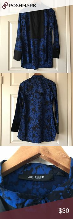 Kris Jenner Long Sleeve Button Down Blouse A beautiful collection long sleeve blue and black blouse by Kris Jenner. New without tag. kris jenner Tops Button Down Shirts
