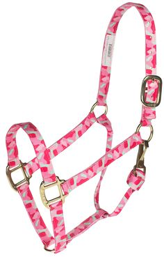 "Pink Camo 1"" premium nylon halter with rolled throat with throat snap for a superb fit. Brass-plated hardware. #horsehalters"