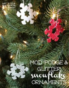 Mod Podge & Glitter Snowflake Ornaments from waittilyourfathergetshome.com